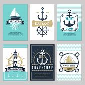 Nautical Cards. Marine Vintage Logotypes Sea Rope Knot Anchor Ship Ocean Decorative Symbols For Labe poster