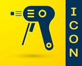 Blue Electric Hot Glue Gun Icon Isolated On Yellow Background. Hot Pistol Glue. Hot Repair Work Appl poster