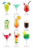 Cocktails Realistic. Alcoholic Drinks In Glasses Juice Tequila Mint Vodka Liquer Gin Tonic Vector Re poster