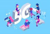 Isometric 5g Network. Vector 5g Wifi Net. 3d Different People, Web Developers At Work. 5g Wifi Net S poster