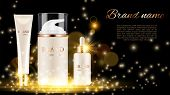 Cosmetic Ad Poster. Advertising Shine Background With Cosmetic Bottles And Golden Sparkles. Vector R poster