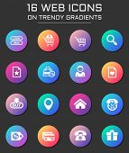 E-commerce Interface Icon Set. E-commerce Interface Web Icons On Round Trendy Gradients poster