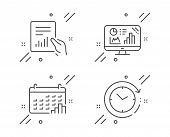 Calendar Graph, Document And Analytics Graph Line Icons Set. Time Change Sign. Annual Report, File W poster