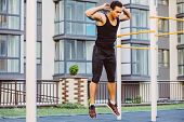 Jump Up Burpee. Sport Exercises. Stage And Release Of Squat. Exercises With Free Weight. Mixed Race  poster