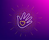 Social Responsibility Line Icon. Halftone Pattern. Hand With Heart Sign. Charity Symbol. Gradient Ba poster