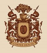 Vector Banner On The Theme Of Coffee House In Form Of Hand-drawn Medieval Coat Of Arms. Coffee Emble poster