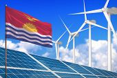Kiribati Solar And Wind Energy, Renewable Energy Concept With Windmills - Renewable Energy Against G poster
