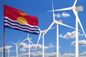 Kiribati Alternative Energy, Wind Energy Industrial Concept With Windmills And Flag - Alternative Re poster