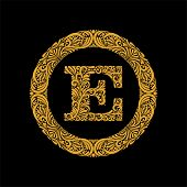 Premium, Elegant Capital Letter E In A Round Frame Is Made Of Floral Ornament. Baroque Style.elegant poster