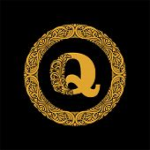 Premium, Elegant Capital Letter Q In A Round Frame Is Made Of Floral Ornament. Baroque Style.elegant poster