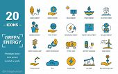 Power And Energy Icon Set. Include Creative Elements Green Energy, Solar Energy, Biomass, Energy Dev poster