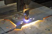 Metal Cutting. The Process Of Cutting Metal Using Plasma Cutting. Industry poster