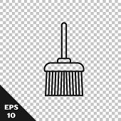 Black Line Handle Broom Icon Isolated On Transparent Background. Cleaning Service Concept. Vector Il poster