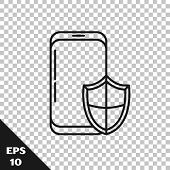 Black Line Smartphone, Mobile Phone With Security Shield Icon Isolated On Transparent Background. Se poster