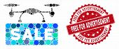 Mosaic Airdrone Sale And Rubber Stamp Seal With Free For Advertisement Caption. Mosaic Vector Is For poster