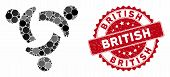 Mosaic Community And Rubber Stamp Watermark With British Text. Mosaic Vector Is Created With Communi poster