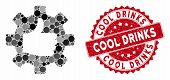 Mosaic Gear Thumb Up And Grunge Stamp Seal With Cool Drinks Phrase. Mosaic Vector Is Formed With Gea poster