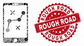 Mosaic Mobile Navigation Route And Rubber Stamp Seal With Rough Road Text. Mosaic Vector Is Created  poster