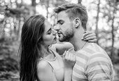 Giving Kiss. Seduction And Foreplay. Sensual Kiss Of Lovely Couple Close Up. Couple In Love Kissing  poster
