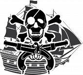 image of crossed pistols  - piracy ship - JPG