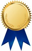 stock photo of gold medal  - gold award ribbons  - JPG