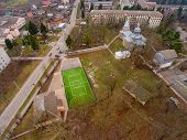 Green Football Stadium Field. Aerial View Of Stadium. poster