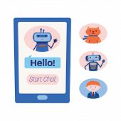 Smart Phone Screen Showing Chat With A Technical Assistance Bot And Three Variants Of Other Chatbots poster