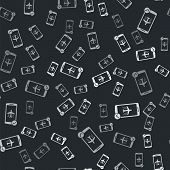 Grey Flight Mode In The Mobile Phone Icon Isolated Seamless Pattern On Black Background. Airplane Or poster