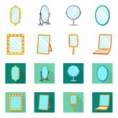 Vector Design Of Reflect And Piece Symbol. Set Of Reflect And Furniture Stock Symbol For Web. poster