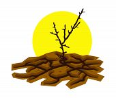 Vector Illustration Of Dry Dead Tree In Dry And Cracked Desert Land And Hot Sun. Soil Damage From Dr poster