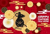 Happy Chinese New Year, 2020 Mouse Rat Of Lunar Zodiac Sign And Papercut Pattern. Cny Chinese New Ye poster