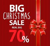 Big Christmas Sale Promotion Banner With Ribbon Bow. 70 Percent Off Price, Reduction Of Cost In Wint poster