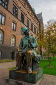 Copenhagen, Denmark: Bronze Statue Of Hans Christian Andersen At Copenhagen City Hall Square. poster