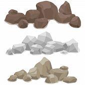 Stones, A Set Of Various Stones. Mountain Of Stone. poster
