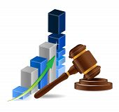 Business Graph Chart And Gavel