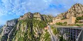 Santa Maria De Montserrat Monastery, Catalonia, Spain. Panoramic Of 50Mpx