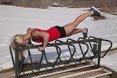 Woman Outdoor Workout Leg Up