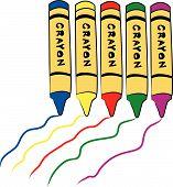 fünf Buntstifte Farbe Trail