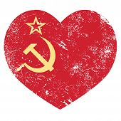 foto of communist symbol  - Old red Russian Federation vintage flag  - JPG