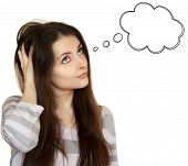Thinking Young Woman With Empty Speech Bubble Over Head Looking Up