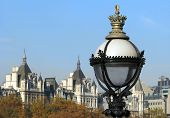 Street Lamp With Cityscape Of London.