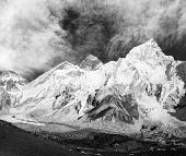 black and white panoramic view of Mount Everest with beautiful sky and Khumbu Glacier - Khumbu valle
