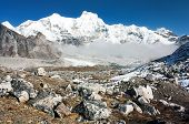 Hungchhi peak and Chumbu peak from Cho Oyu base camp - trek to Everest base camp - Nepal