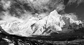 black and white panoramic view of Mount Everest