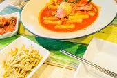 image of kimchi  - Korean Food Tukbokki with Boiled egg topping and Kimchi - JPG