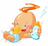 picture of nipple  - A baby with crazy hair is smiling holding a bottle with milk and a nipple - JPG
