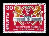 Two Heraldic Lions And Logo Of Comptoir Suisse