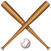 Wooden Baseball Bat And Ball