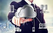 Business Man With Cloud Computing Theme