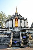 Old Thai Buddhist Pagoda With Stand Buddha Images